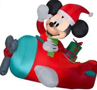CHRISTMAS SANTA DISNEY MICKEY MOUSE AIRPLANE PLANE  AIRBLOWN INFLATABLE 4.5 FT