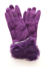 Ladies Wool Gloves PURPLE with FUR Cuff Detail