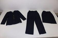 Kasper Womens Sz 4 Petite Matching Navy Blue 3 Pc Suit Jacket Pants Skirt Lined