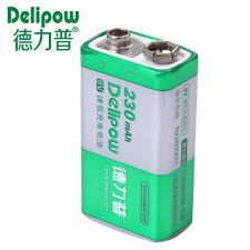 Genuine Delipow 9V Li-ion 230mAH Rechargeable Battery 6F22