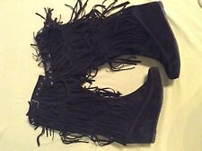 Black suede fringe boots 11 womens