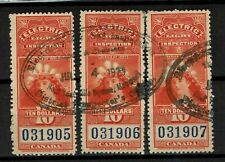 Canada Revenue Stamp Taxpaid Fiscal Stempelmarke Electric Inspection 10 dollars