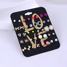 Mix Lot 20pairs Fashion Women Stud Earrings Rose Flower Love Heart Pearl Earring