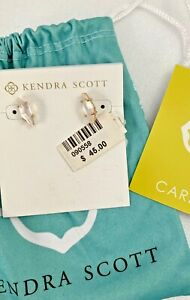 NWT $45 KENDRA SCOTT Brook Earrings Stud Faceted Mother Of Pearl  Gold Tone