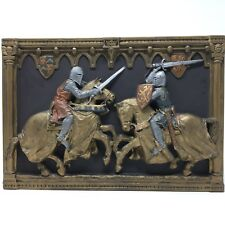 Marcus Designs 3D Chalkware Wall Plaque Knights Sword Medieval Collectors