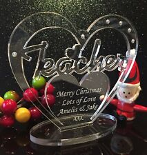 Personalised Heart for Teacher  with Message - Christmas Gift - Freestanding