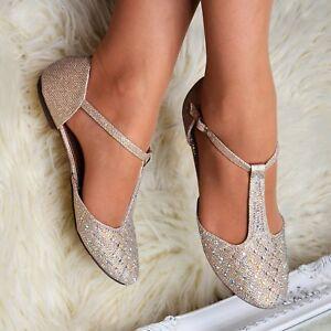 Ladies Diamante Strappy Flat Sandals ballet pumps Evening flats T bar Shoes size