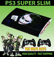 PLAYSTATION PS3 SUPER SLIM JOKER WHY SO SERIOUS SKIN STICKER + 2 X PAD SKINS
