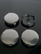 "4pcs 56mm 2.25"" Carbon Fiber Pattern Car Wheel Tire Center Hub Caps Covers Black"