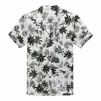 Men Hawaiian Shirt Aloha Cruise Tropical Luau Beach Party Off White Palm Leaf