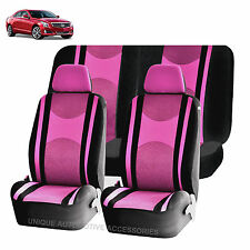 PINK & BK HONEYCOMB AIRBAG READY SPLIT BENCH SEAT COVERS 6PC SET FOR CARS 1145