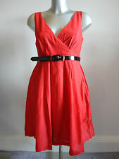 Miss Sixty 'Gabin' Red belted skater dress S