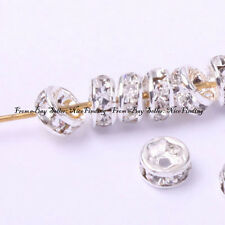 100pcs Rondelle Silver Plated Crystal Spacer Beads 4mm