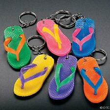 SIX PIECE LOT MULTI COLORED FLIP FLOP KEYCHAINS RUBBER KEYRINGS SILVER CHAIN