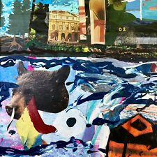 Moat...  Small Collage Art Surreal Bear Water Sky Painting Steven Tannenbaum