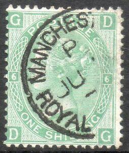 1871 1/- green  sg 117 plate 5, cds cat £45+75% GD