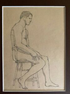 """American, Academic Drawing """"Male Nude"""", pencil on paper, 12""""H x 9""""W, 1930s"""