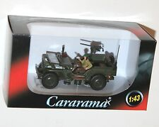 Cararama - WILLYS JEEP 4x4 Open Top + Mounted Gun + Soldier - Model Scale 1:43