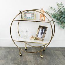 Gold & Marble Round Bar Cart drink trolley glamorous luxurious shelf shelving
