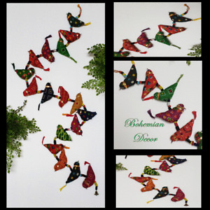 """""""BIRDS ON A WIRE"""" Wind Chime BOHO Decor Bell Pull Butler Call Wall Art 55"""" Patio"""