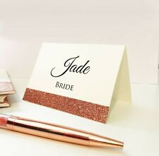 Personalised Wedding Table Place Cards Guest Name Cards ivory sparkle