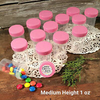 """24 Pill Jars 2+"""" tall Pink Screw Cap 1 ounce Container 3812 Made in America New"""
