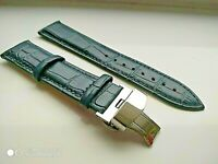 Navy blue real leather strap for Mont Blanc watch clasp 18-24 mm pins tools UK