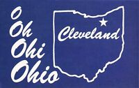 Cleveland O OH OHI OHIO~Large Letter State Map in Blue~Greetings Postcard 1960s