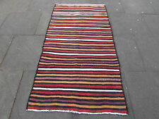 Old Traditional Hand Made Persian Oriental Wool Cotton Red Kilim Rug 190x100cm