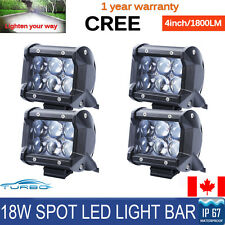 Dual Row 4D Lens LED Work Light 18W Spot Beam Fog Driving Lamp Off-road 4Pcs