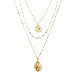 Gold Coin Pearl Sea Shell Fashion Chain Pendant Necklaces For Women Jewelry