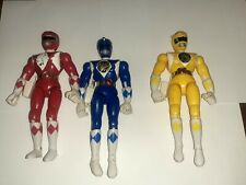 1993 Bandai Power Rangers Blue Yellow Red...Check pics...Blue has Weapon