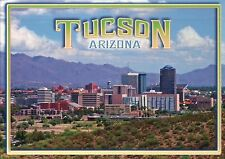 Tucson Arizona Skyline, Home of University of AZ, Sonoran Desert --- Postcard