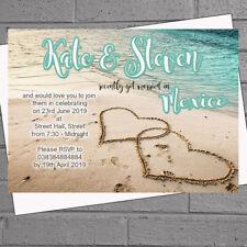 Beach Heart Wedding Abroad Wedding Reception Invitations x 12 Turquoise H2022