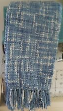 French Farmhouse Beach Cottage Blue Weaved Vince Camuto Blanket Throw Chenile