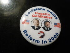 Louisiana Reform Party Pin Back Presidential Campaign 2000 Button Hagelin Flag