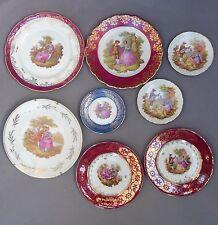 Vintage Collection of 8 Limoges Porcelain PLATES ~ Fragonard Lovers / FRENCH