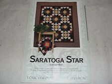 "SARATOGA STAR Quilt & Pillow Pattern Touchwood Quilt Designs 58x70"" 18x18"""