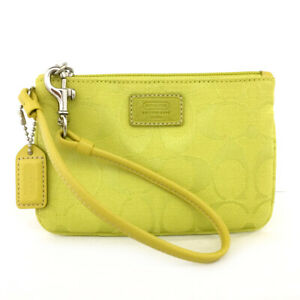 Coach Signature Yellow Canvas Leather Pouch Bag /CH010