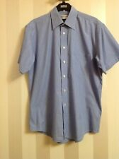 yves saint laurent Pour Homme Pinstriped Blue Short Sleeves Shirt 15.3/4-40 New