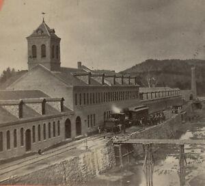 1860s RAILROAD LOCOMOTIVE Train & Factory TURNERS FALLS Massachusetts GREENFIELD