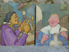 Pair of Vintage 1940's Colonial Style Paintings Calendar Illustrations by Gerald