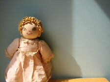 "Antique/Vtg 13"" Handmade Primitive Face/Cloth Stitched Body Sock/Rag/Cloth Doll"