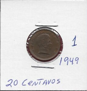 CHILE 20 CENTAVOS 1949 VF-XF THIS COIN IS CALLED CHAUCHA ARMORED BUST OF BER
