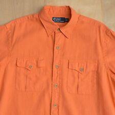 POLO Ralph Lauren Short Sleeve Linen Cotton Military Style Button Down Shirt L