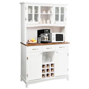 Buffet And Hutch Kitchen Storage Cabinet Cupboard w/ Wine Rack & Drawers White