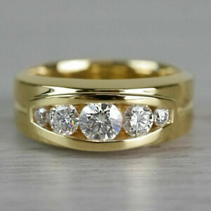 Channel Set Engagement & Wedding Men's Ring 14K Yellow Gold Over 1.62 Ct Diamond