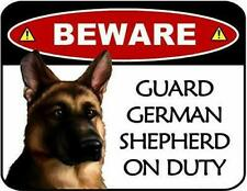 Beware German Shepherd On Duty Laminated Dog Sign and Sticker Set Sp3112-St
