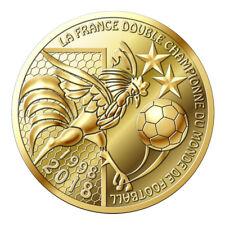Medaille Two Stars - Fußball-Weltmeister Frankreich 2018 - vergoldet