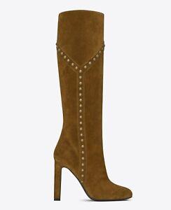 SAINT LAURENT Boots Grace 105 Y IT 37 US 7 Studded $1,395 Suede Leather